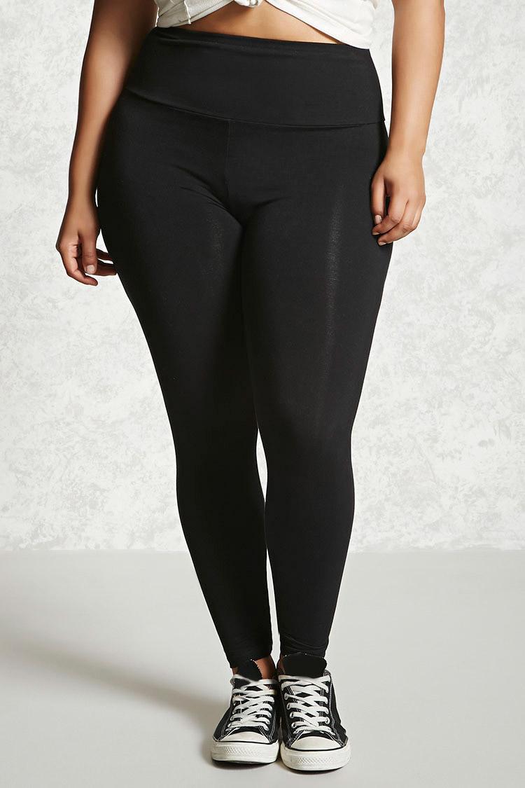 Lyst Forever 21 Plus Size High Waist Leggings In Black