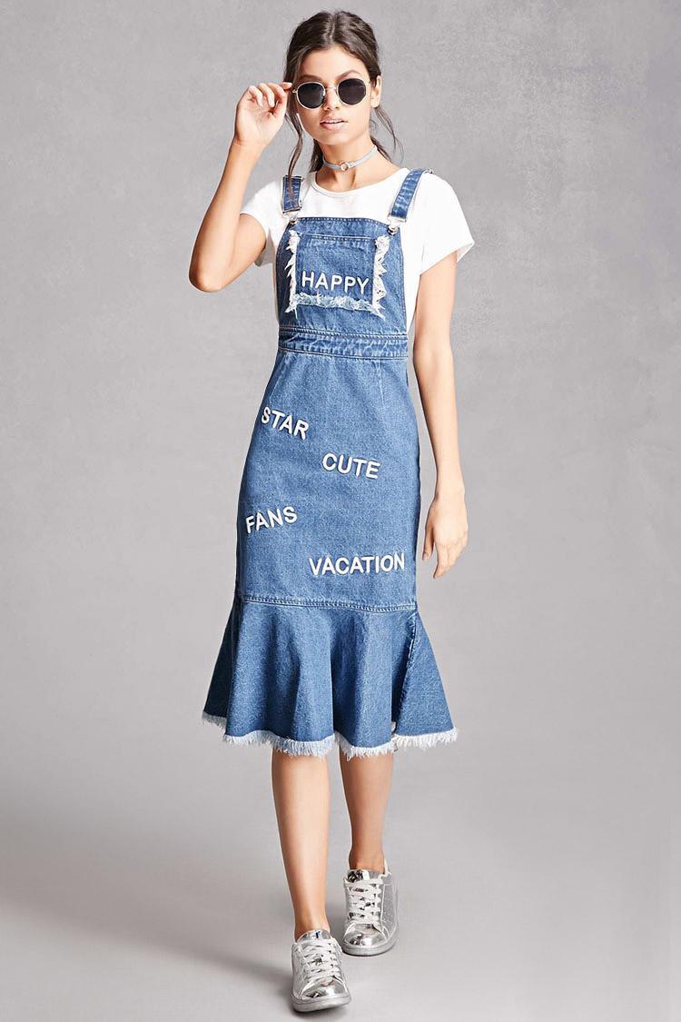 lyst forever 21 korirl denim overall dress in blue