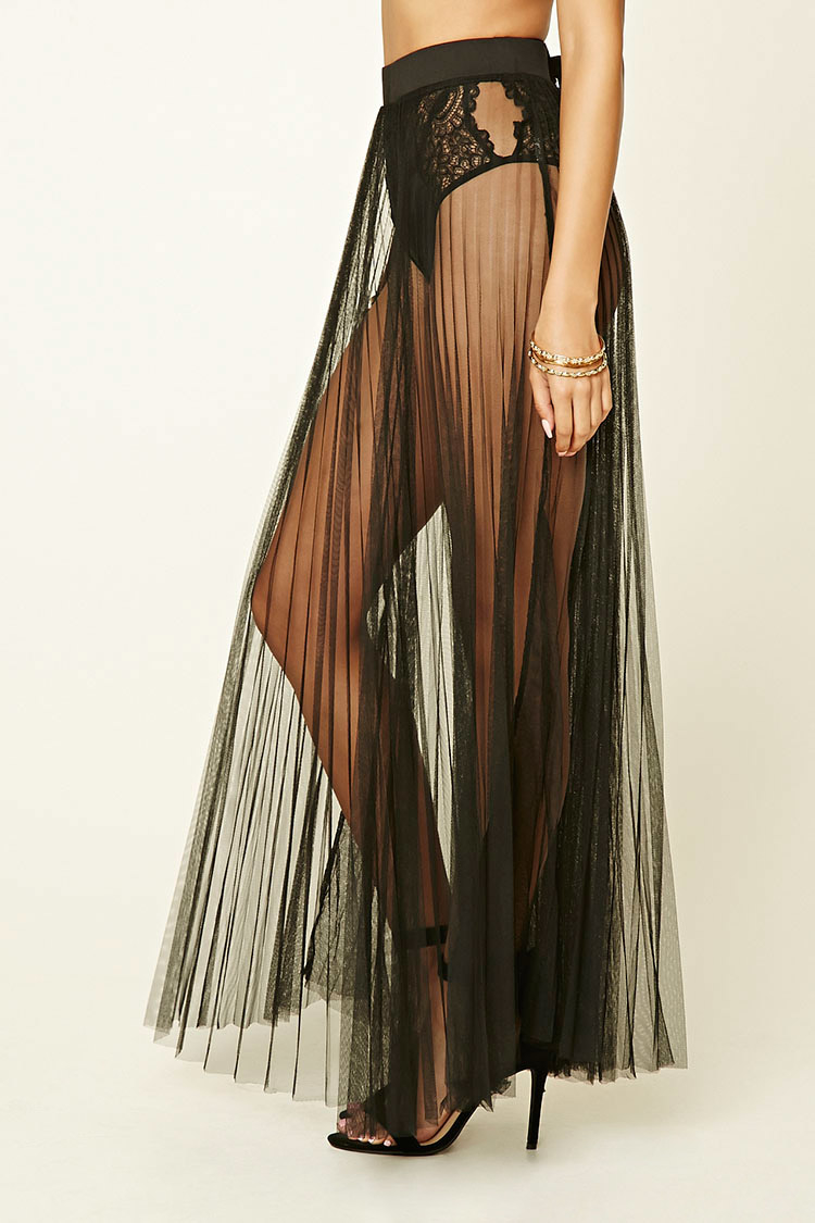 forever 21 sheer pleated maxi skirt in black
