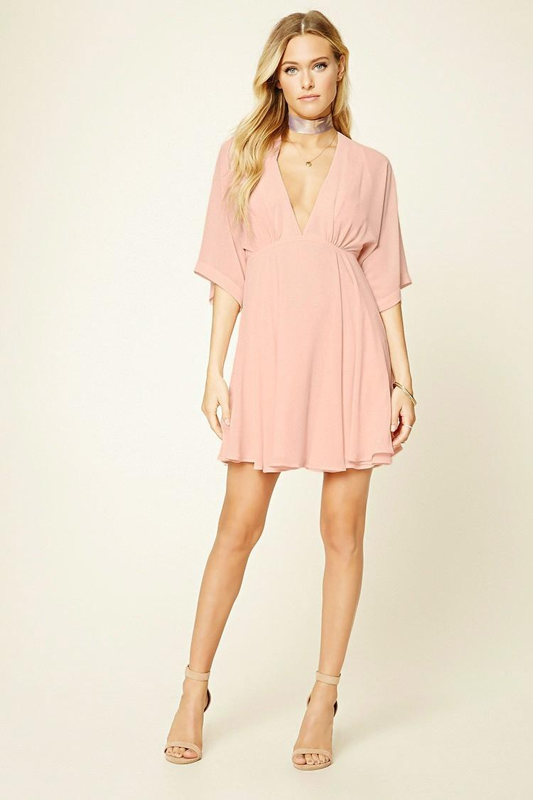 Forever 21 contemporary v neck swing dress in pink lyst forever 21 pink contemporary v neck swing dress lyst ombrellifo Image collections