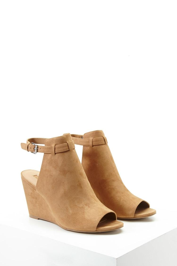 Forever 21 Faux Suede Ankle-strap Wedges in Brown | Lyst