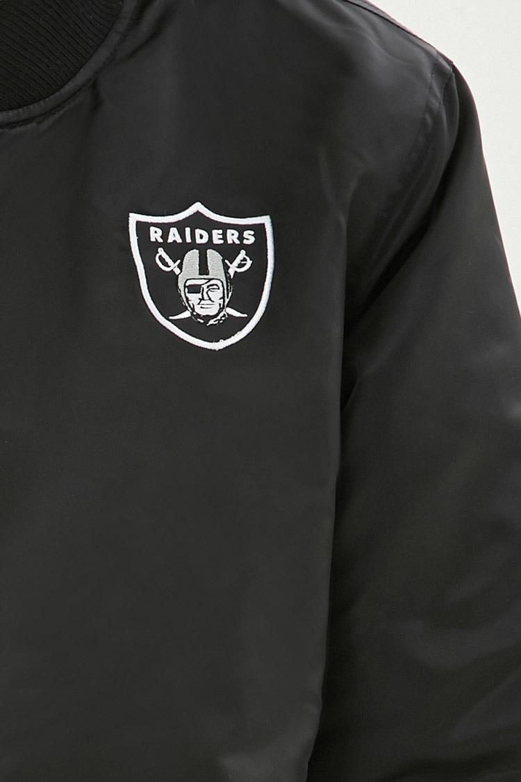 Lyst Forever 21 Nfl Raiders Bomber Jacket In Black