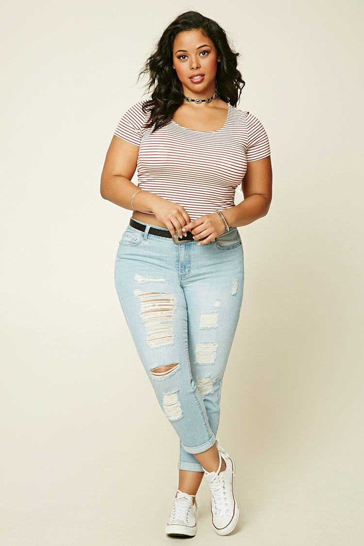 Lyst - Forever 21 Plus Size Distressed Jeans In Blue-5925