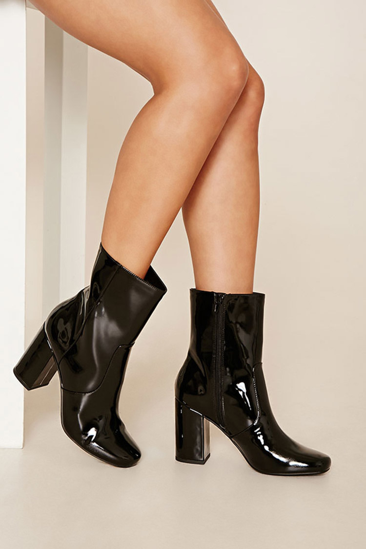 Lyst Forever 21 Faux Patent Leather Boots In Black
