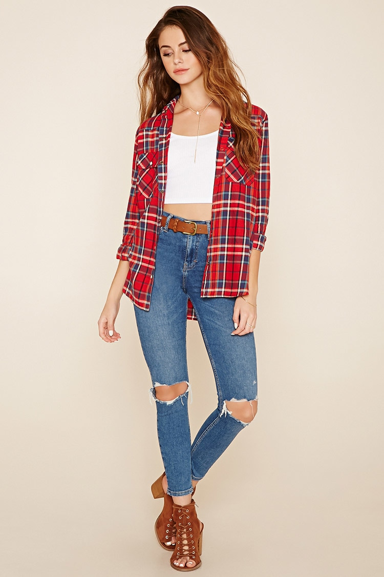 Lyst forever 21 snap button tartan plaid shirt in blue for Ladies brown check shirt