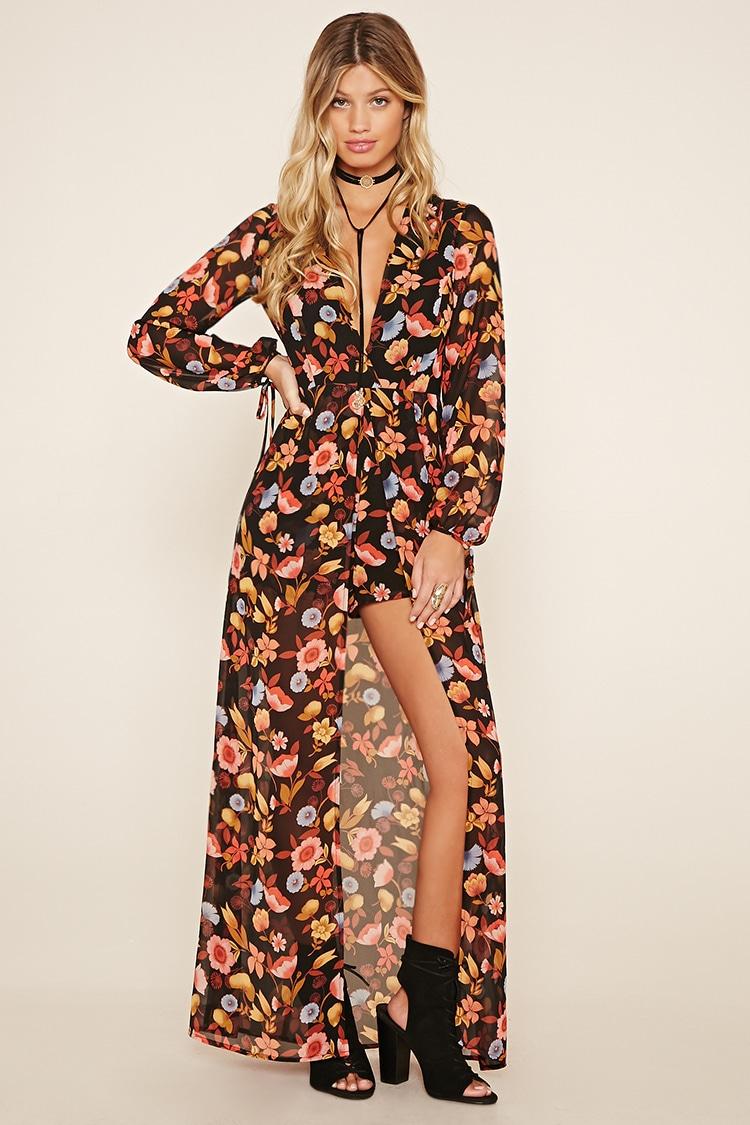 d15da36e3d70 Lyst - Forever 21 Floral Maxi Skirt Romper