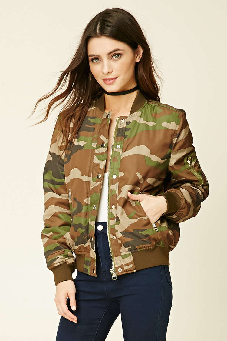 Forever 21 Padded Camo Bomber Jacket In Green Lyst