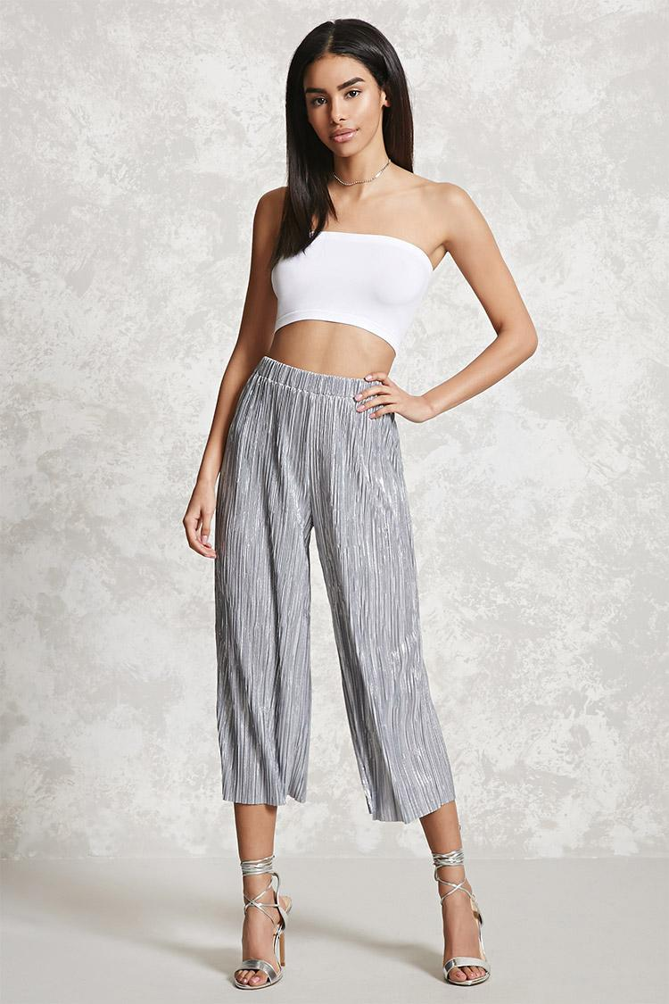 Forever 21 Metallic Pleated Culottes in Metallic