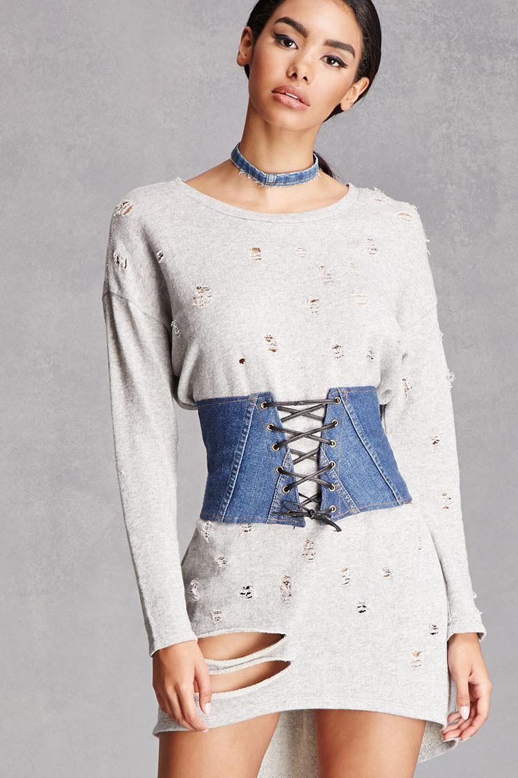 Forever 21 Lace-up Denim Corset in Blue | Lyst