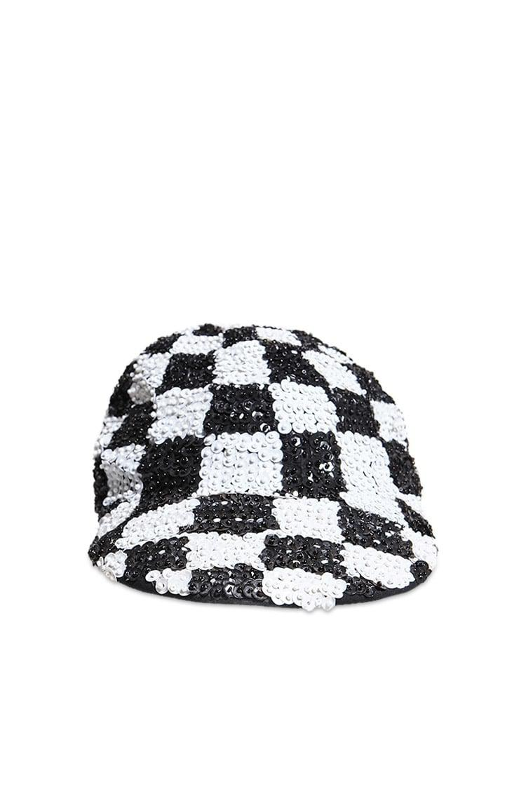 2591b0835 Forever 21 Checkered Sequin Cabby Hat in Black - Lyst