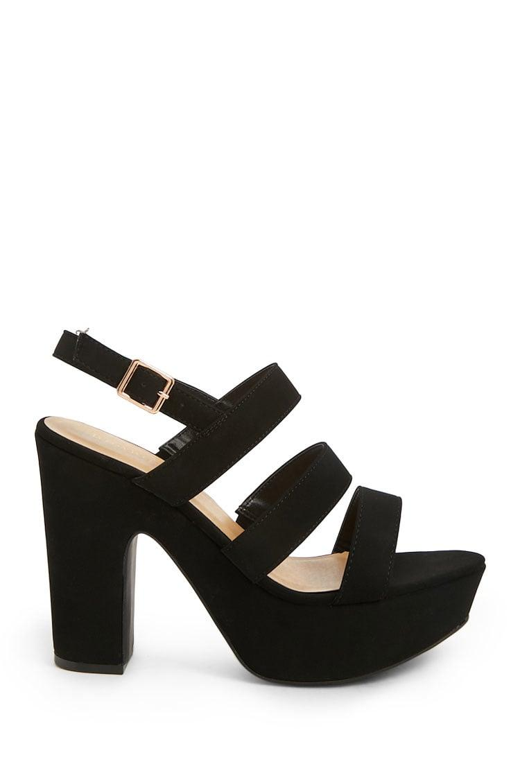 d6e8bfd7535 Lyst - Forever 21 Faux Suede Platform Heels in Black
