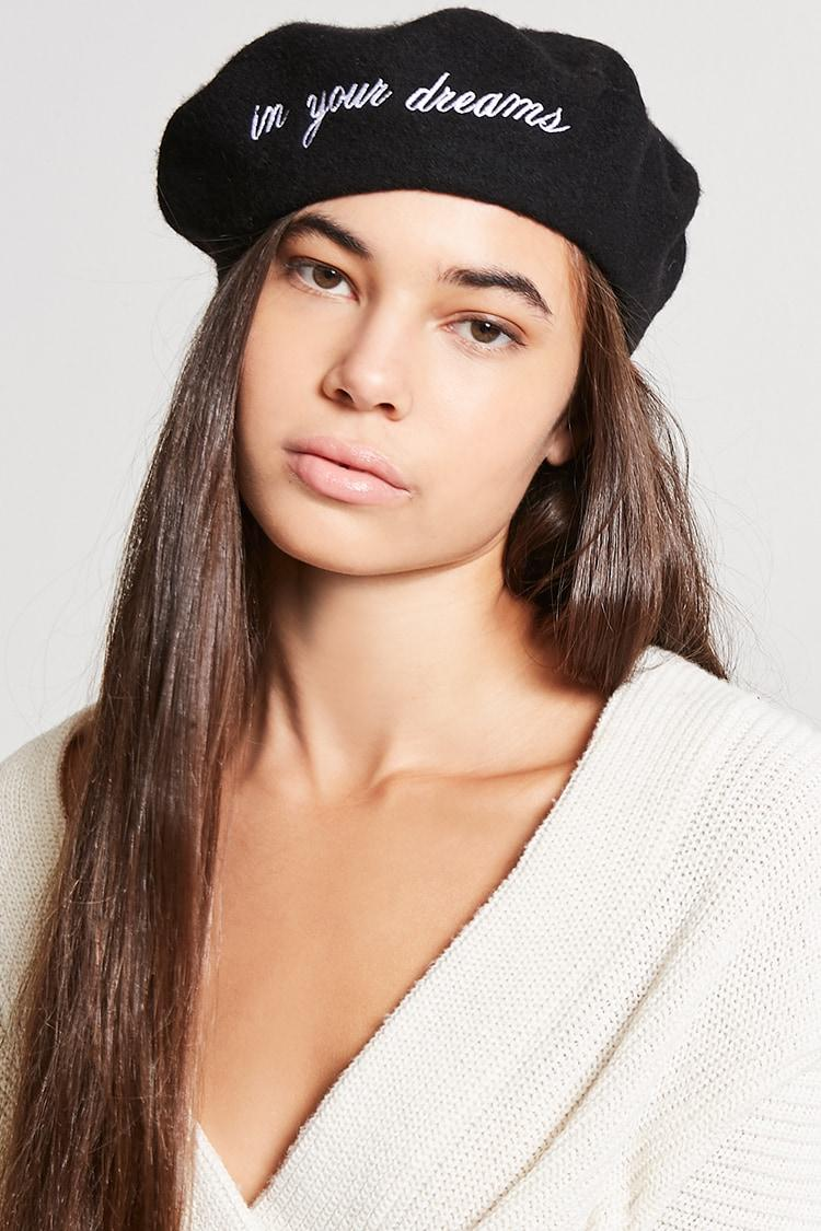 68c48e846 Forever 21 Black In Your Dreams Wool Beret