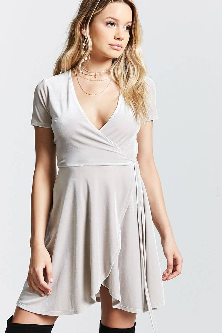 b661e795b0 Lyst - Forever 21 Velvet Surplice Wrap Dress in Gray