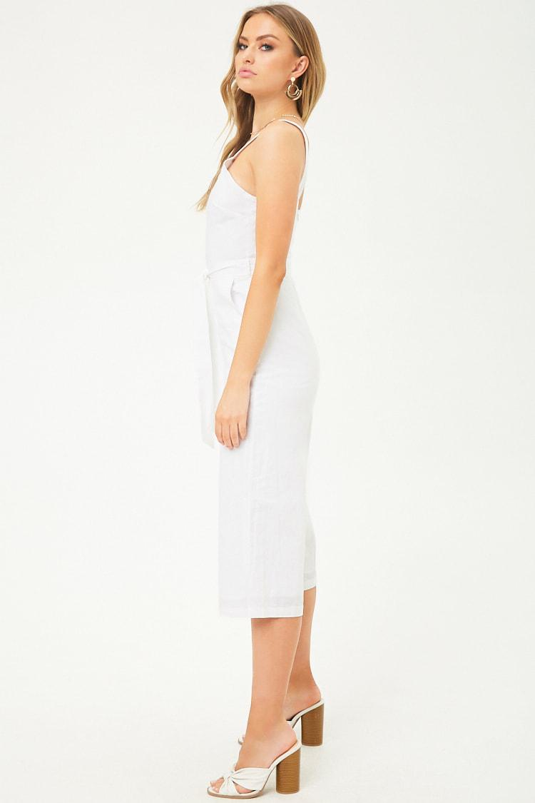 a9e00c19b566 Lyst - Forever 21 Tee Ink Linen Culotte Jumpsuit in White