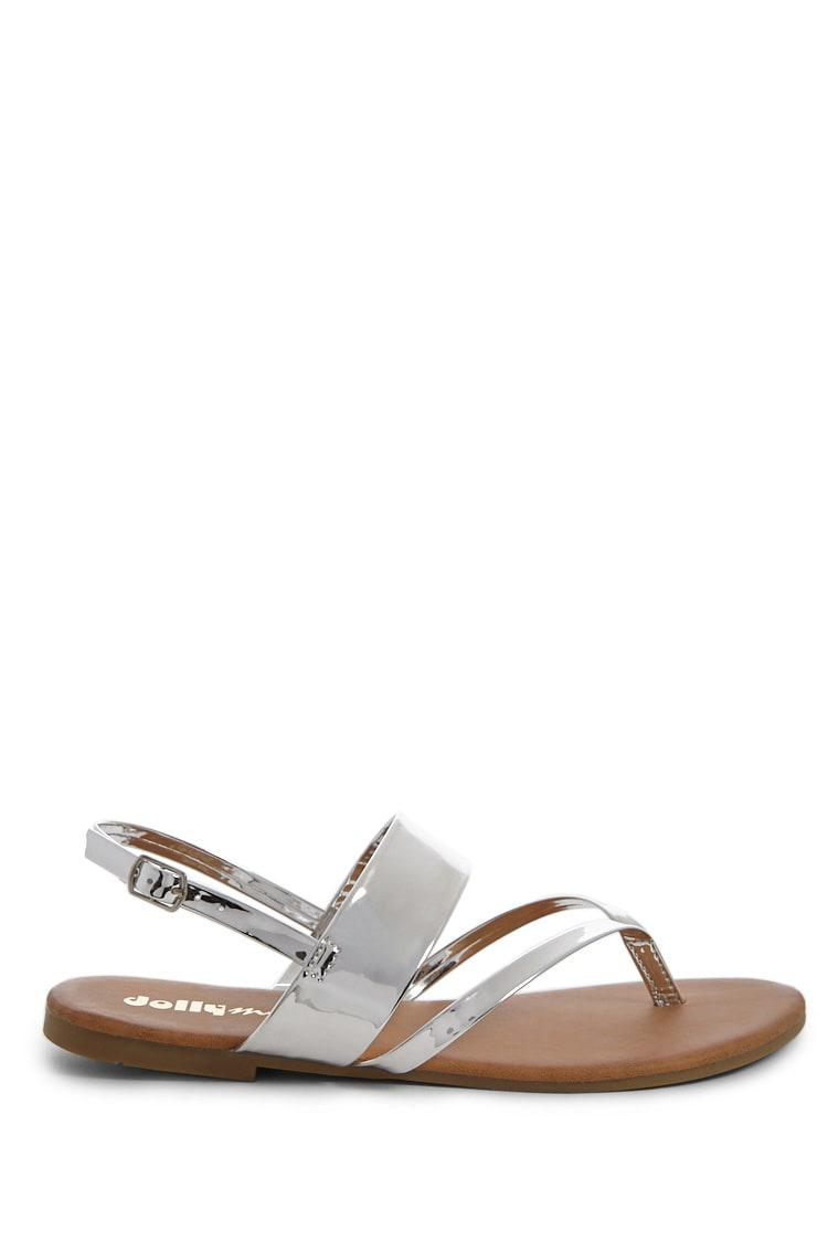 ec1d0e041 Lyst - Forever 21 Yoki Shoes Faux Patent Leather Thong Sandals in ...