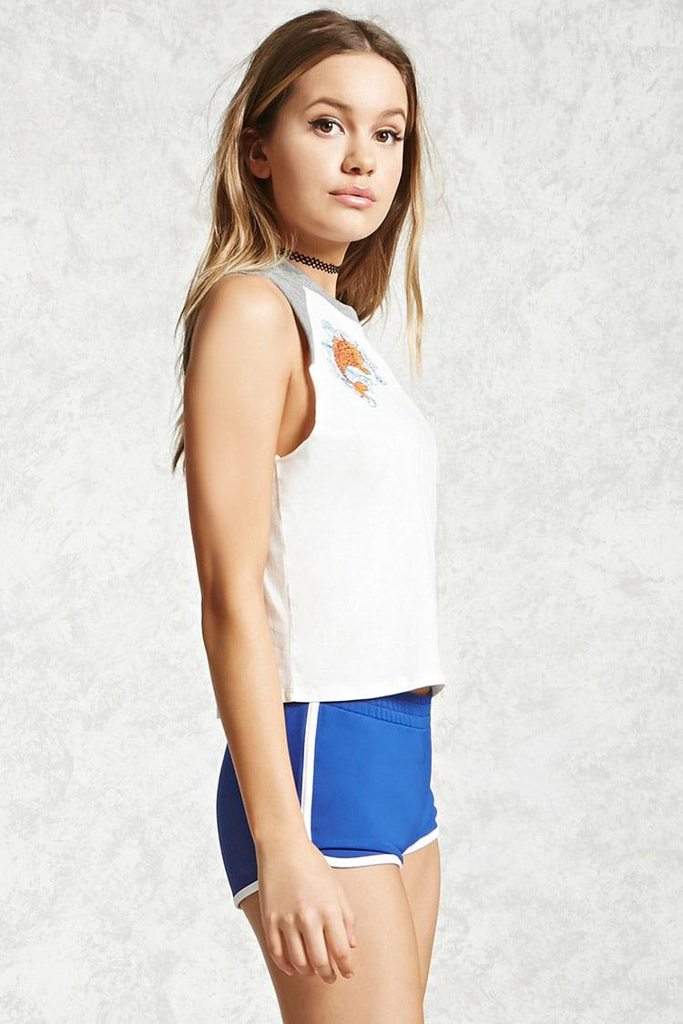 501ba7023e8a2 Lyst - Forever 21 Koi Fish Raglan Muscle Tee in White