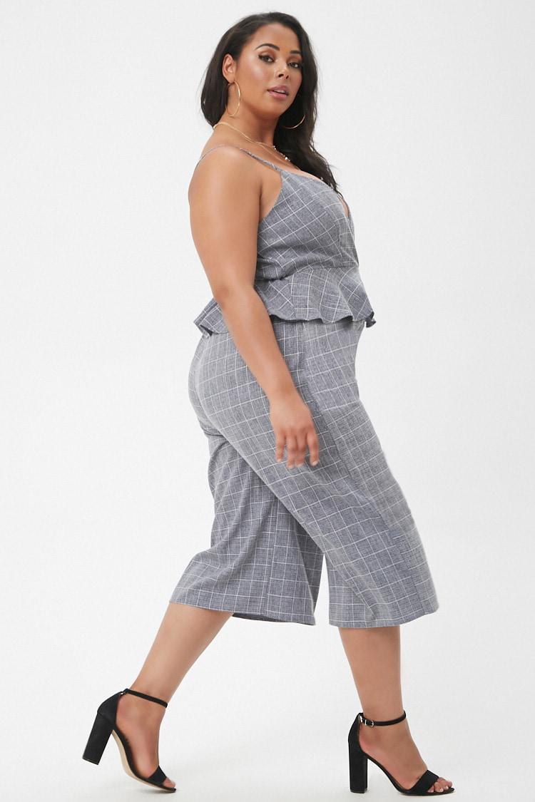 643ebafb72e Forever 21 Plus Size Marled Slub Woven Grid Peplum Culotte Jumpsuit ...