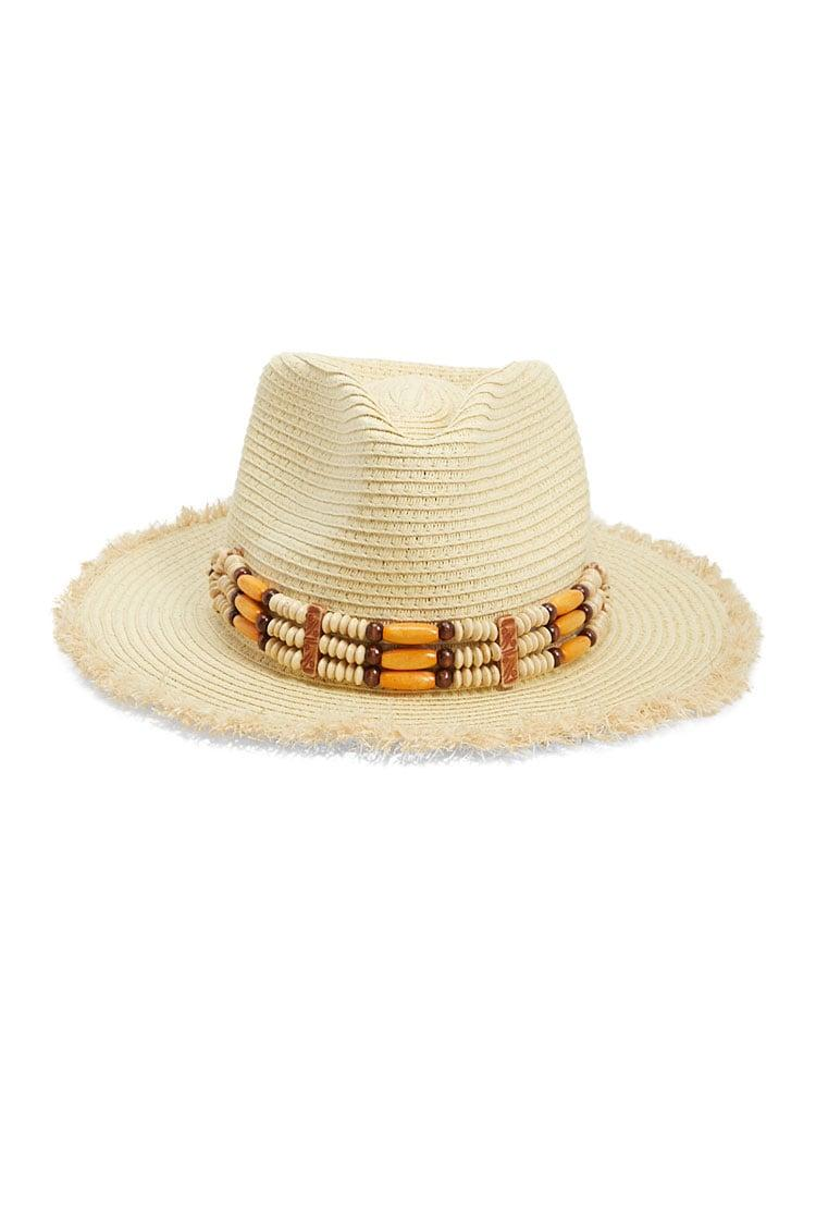Lyst - Forever 21 Beaded-trim Straw Fedora in Natural dae250f3cb41