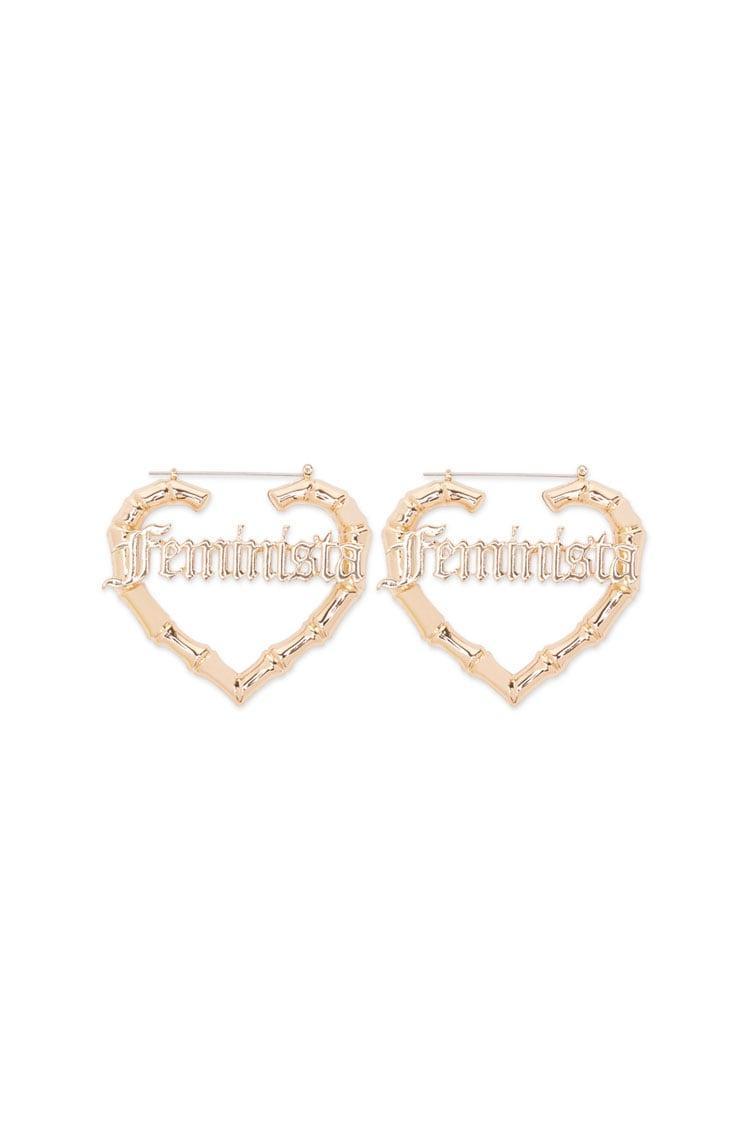 222486e8dd1cb Forever 21 Feminista Graphic Hoop Earrings in Metallic - Lyst