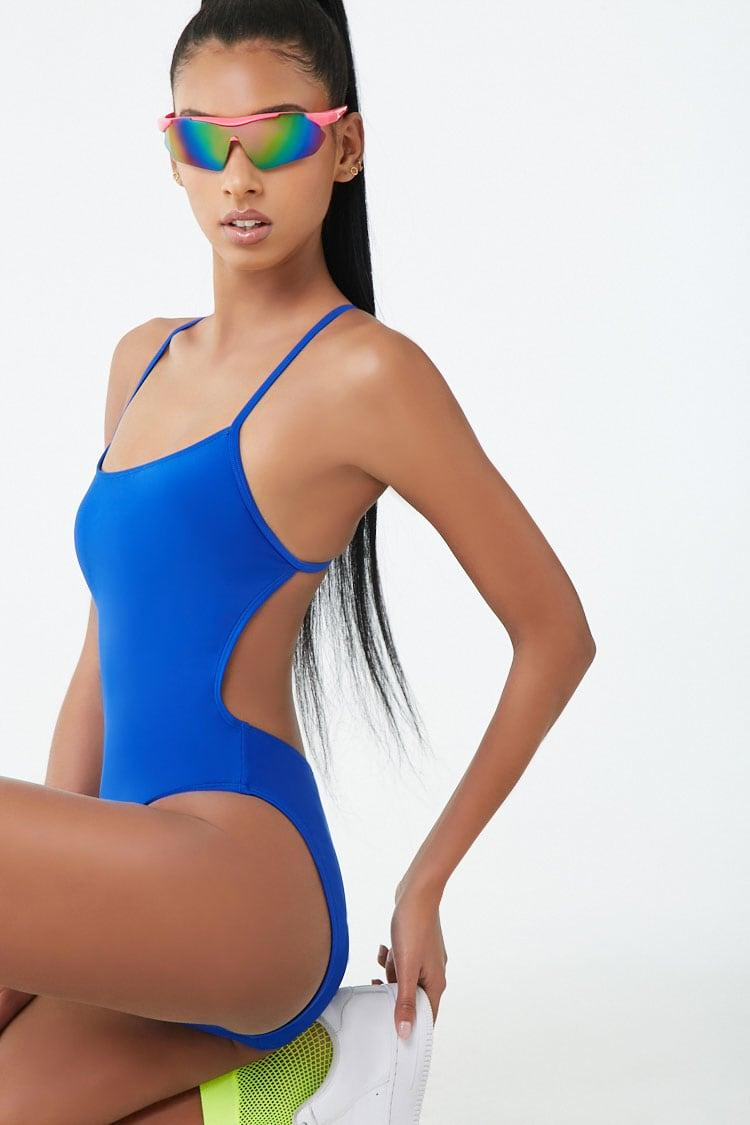 a1512d7a31a Lyst - Forever 21 Active High-leg One-piece Swimsuit in Blue