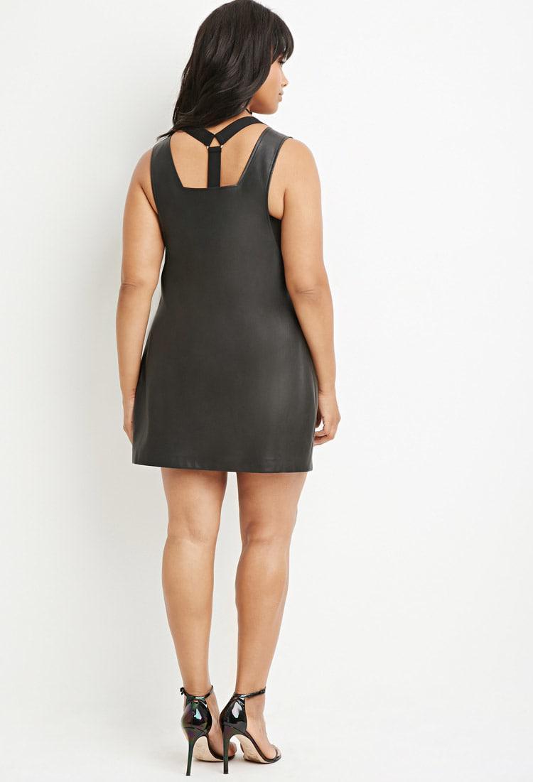 Plus Size Faux Leather Shift Dress