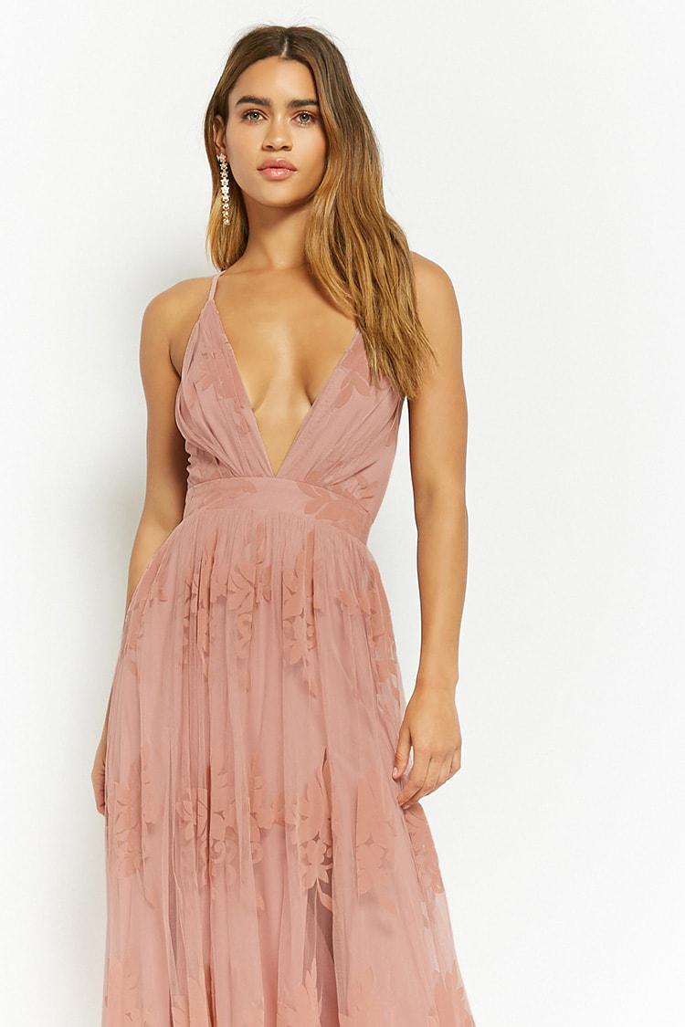 f0d86faaee0b Lyst - Forever 21 Flocked Mesh Maxi Dress in Pink