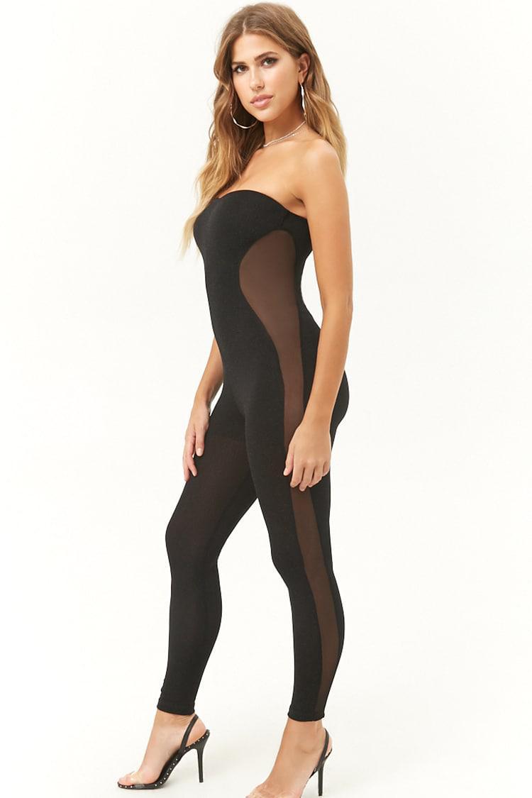 15d4c01decf ... Black Sheer Glittery Tube Jumpsuit - Lyst. View fullscreen