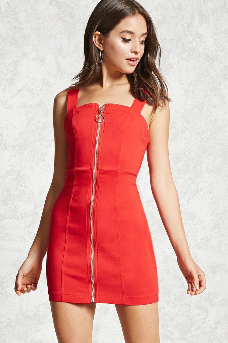 Exposed Zipper Bodycon Dress