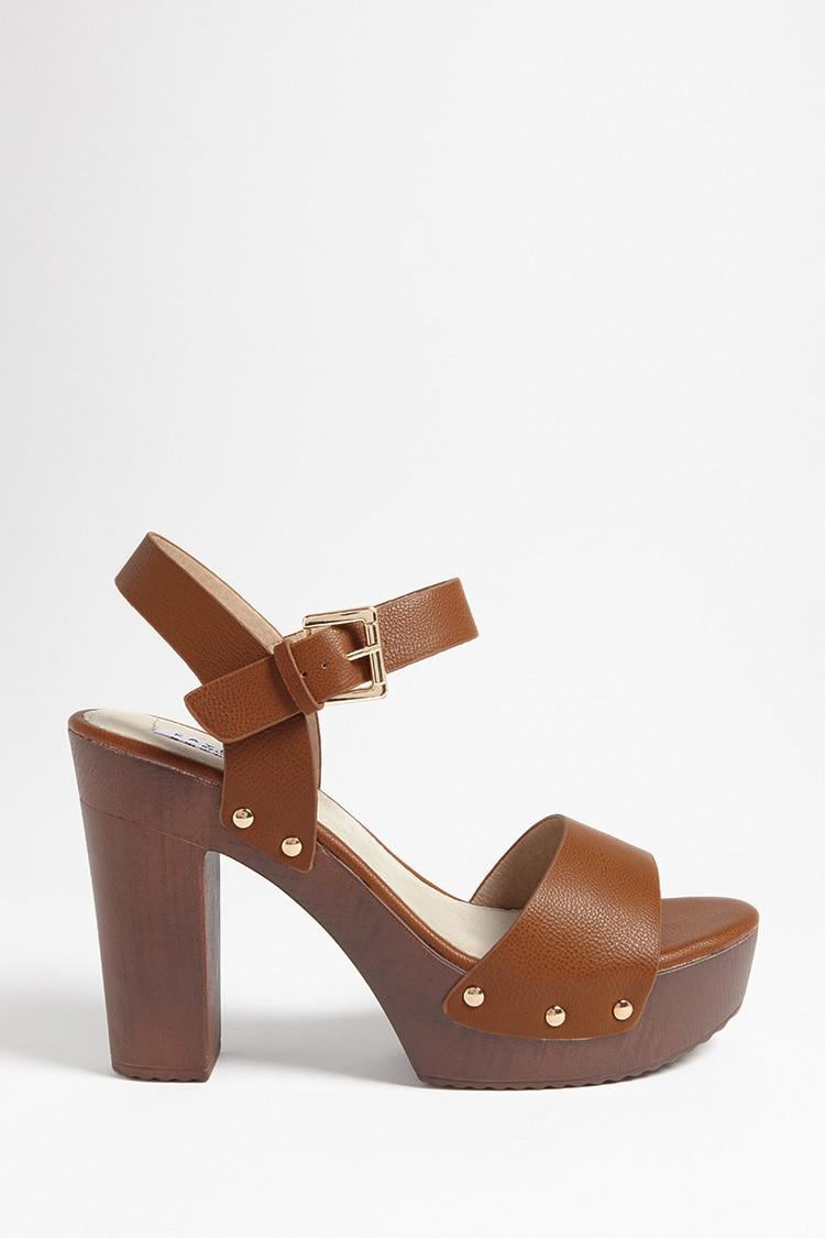0c3762dfa8c08 Lyst - Forever 21 Faux Leather Platform Clog Sandals in Brown