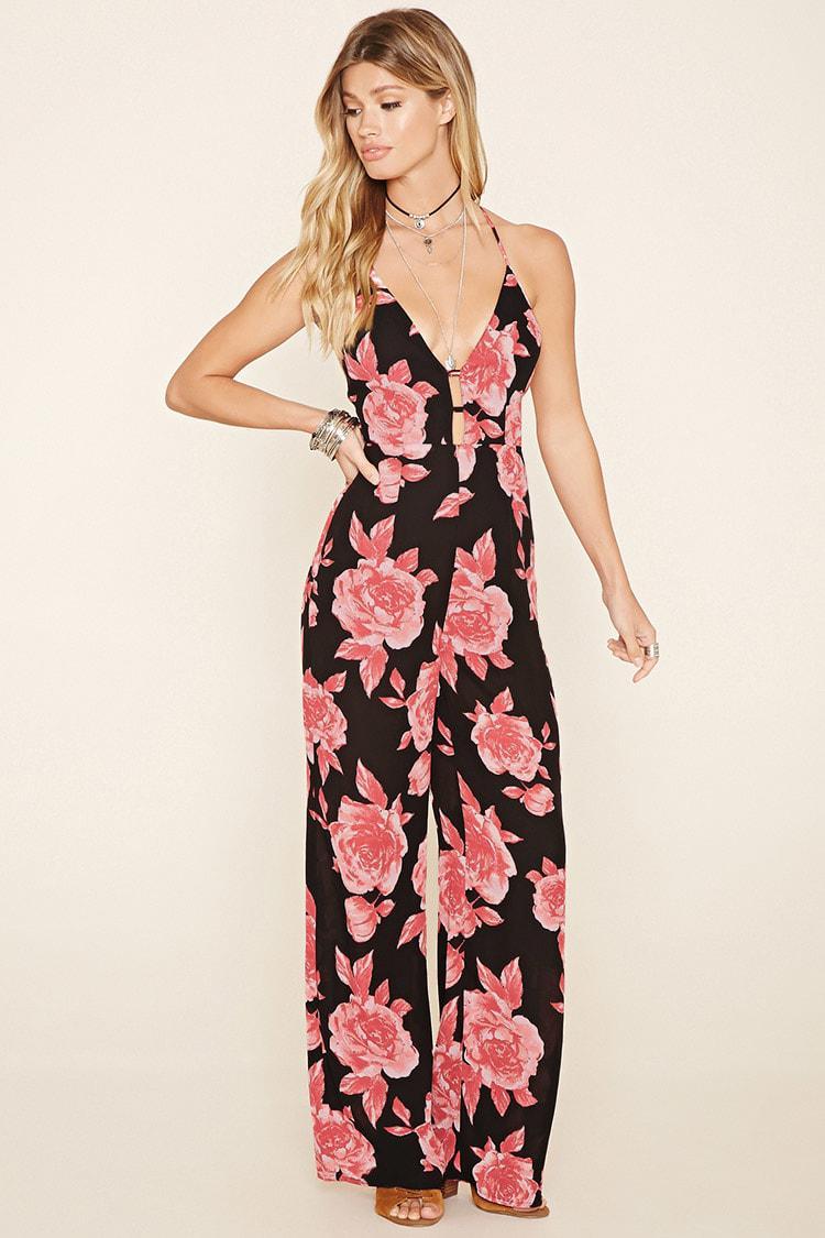 50% price another chance super cute Floral Print Cutout Jumpsuit