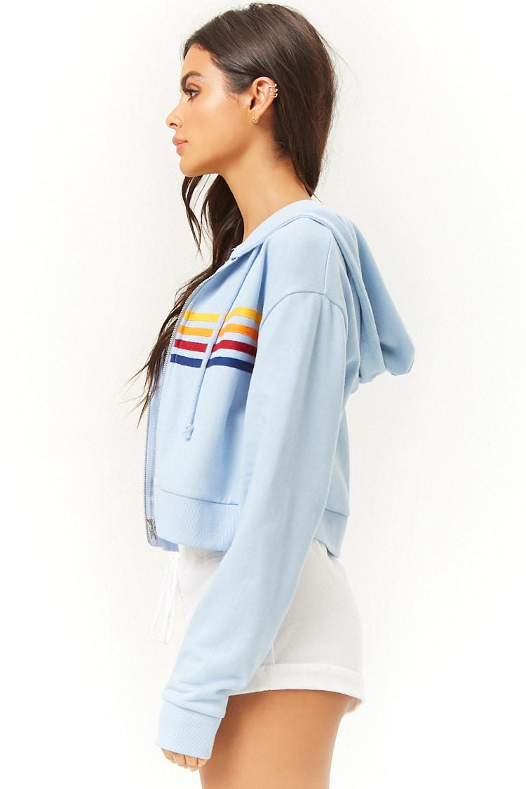 d3ce72c2d0e186 Lyst - Forever 21 Active Rainbow-striped Cropped Hoodie in Blue