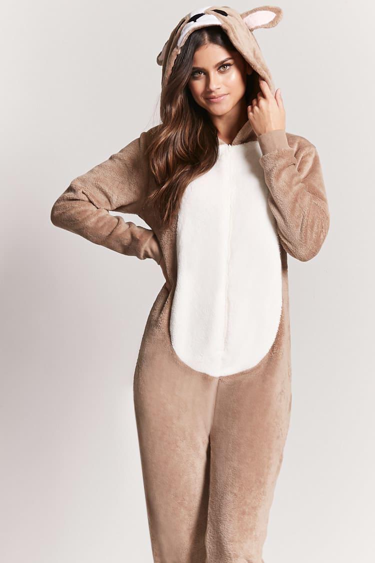 5c502621c5fc Lyst - Forever 21 Plush Deer Pajama Onesie