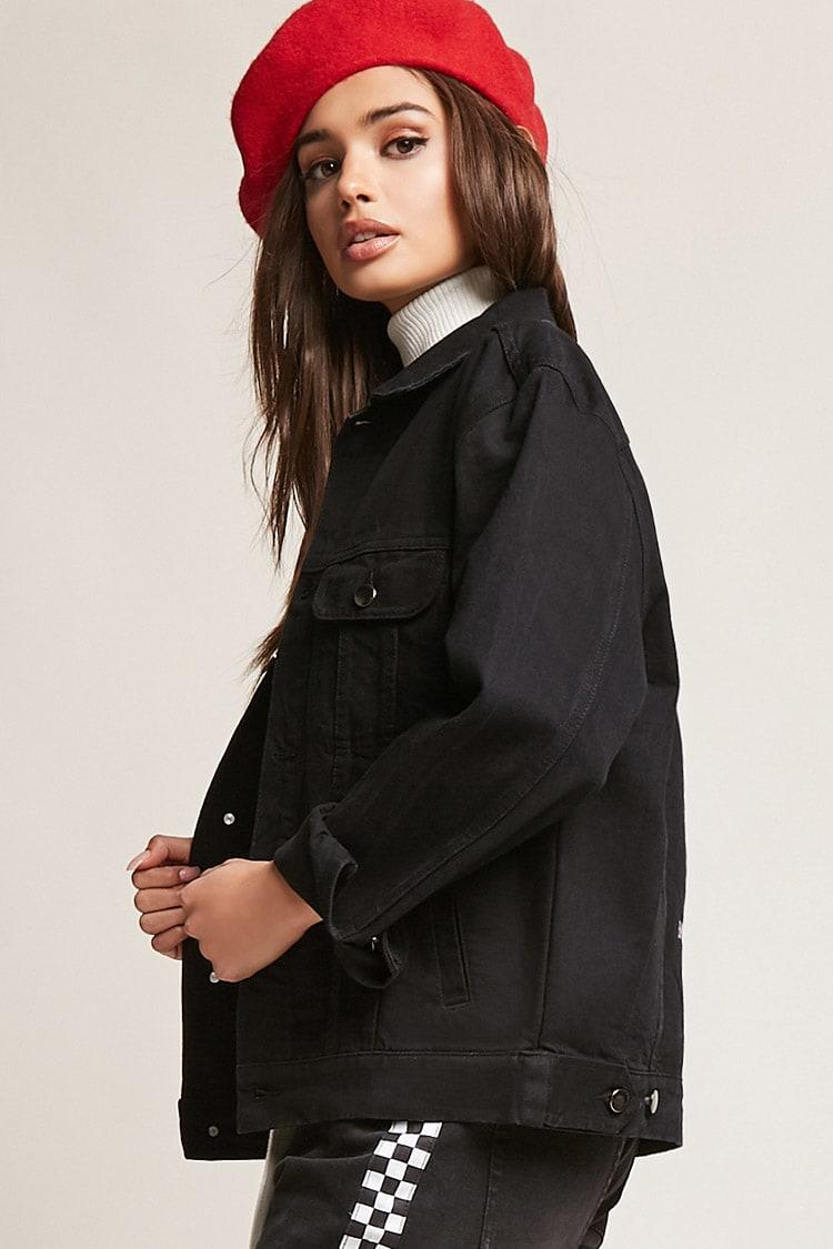 The Style Club Womens Feminist Embroidered Jacket black M