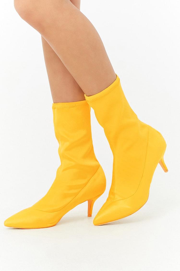 Kitten Heel Sock Boots in Yellow