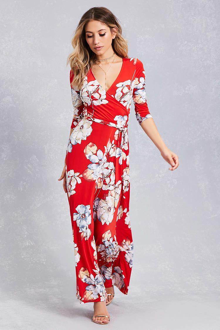 a5dc96c8181c Floral Faux Wrap Dress Forever 21