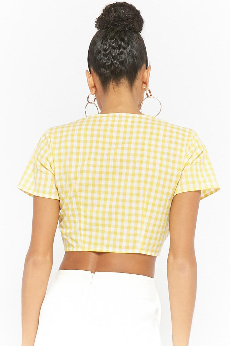 c390045ee71 Forever 21 Reverse Gingham Tie-front Crop Top in Yellow - Lyst