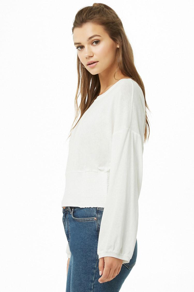 a9dc96936e6de Lyst - Forever 21 Women s Anm Dolman-sleeve Top in White