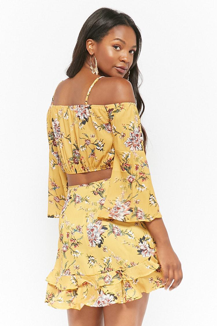 459a4ec649248 Forever 21 Floral Open-shoulder Top   Ruffle Skirt Set in Yellow - Lyst
