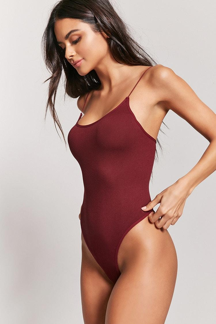 Forever 21 Synthetic Seamless Ribbed Thong Bodysuit - Lyst