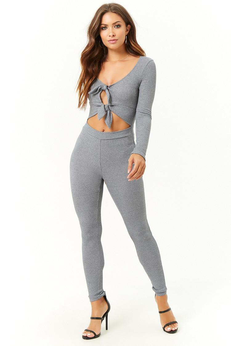 c52c21ad6fea Lyst - Forever 21 Ribbed Marled Cutout Self-tie Jumpsuit in Gray