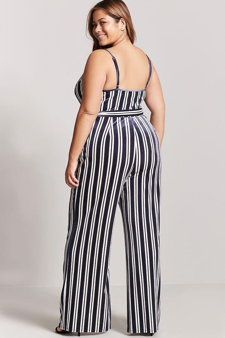 7d952c77656 Forever 21 Plus Size Velvet Stripe Jumpsuit in Blue - Lyst