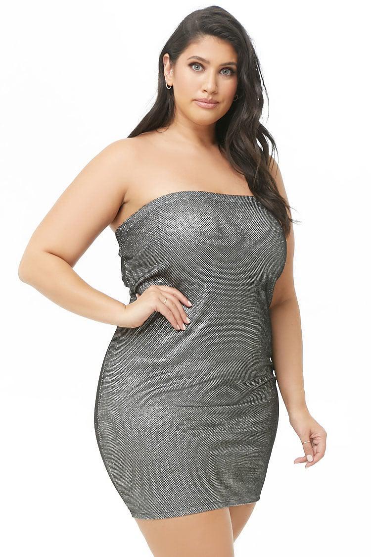 4fd1c25f38 Forever 21 Women s Plus Size Metallic Tube Dress in Metallic - Lyst