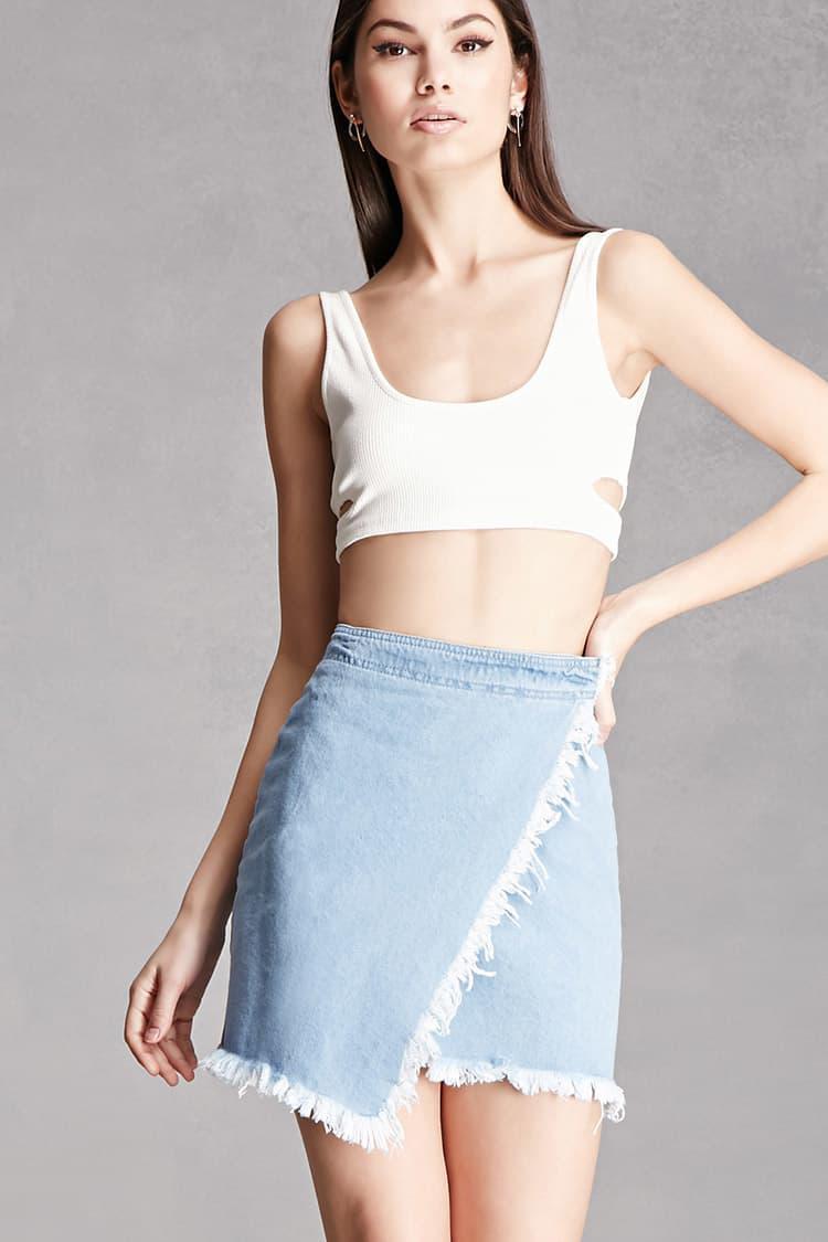 33b8adb63c46 White Denim Mini Skirt Forever 21