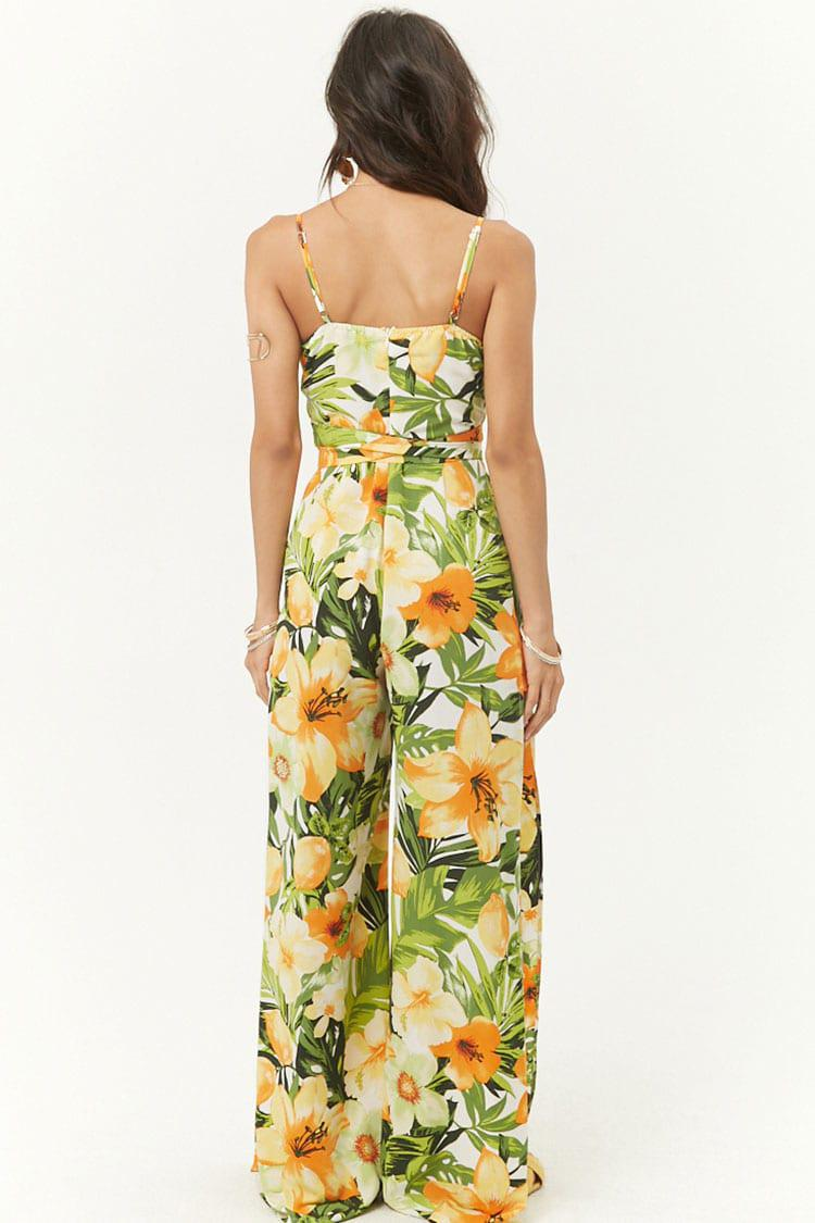 0ff7709c7f02 Forever 21 Tropical Print Padded Jumpsuit in Yellow - Lyst