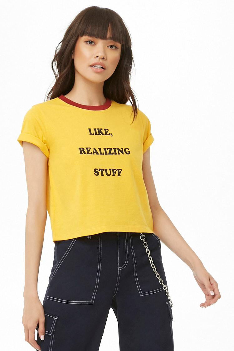 ed8b85ee9b7 Lyst - Forever 21 Like Realizing Stuff Graphic Tee in Yellow
