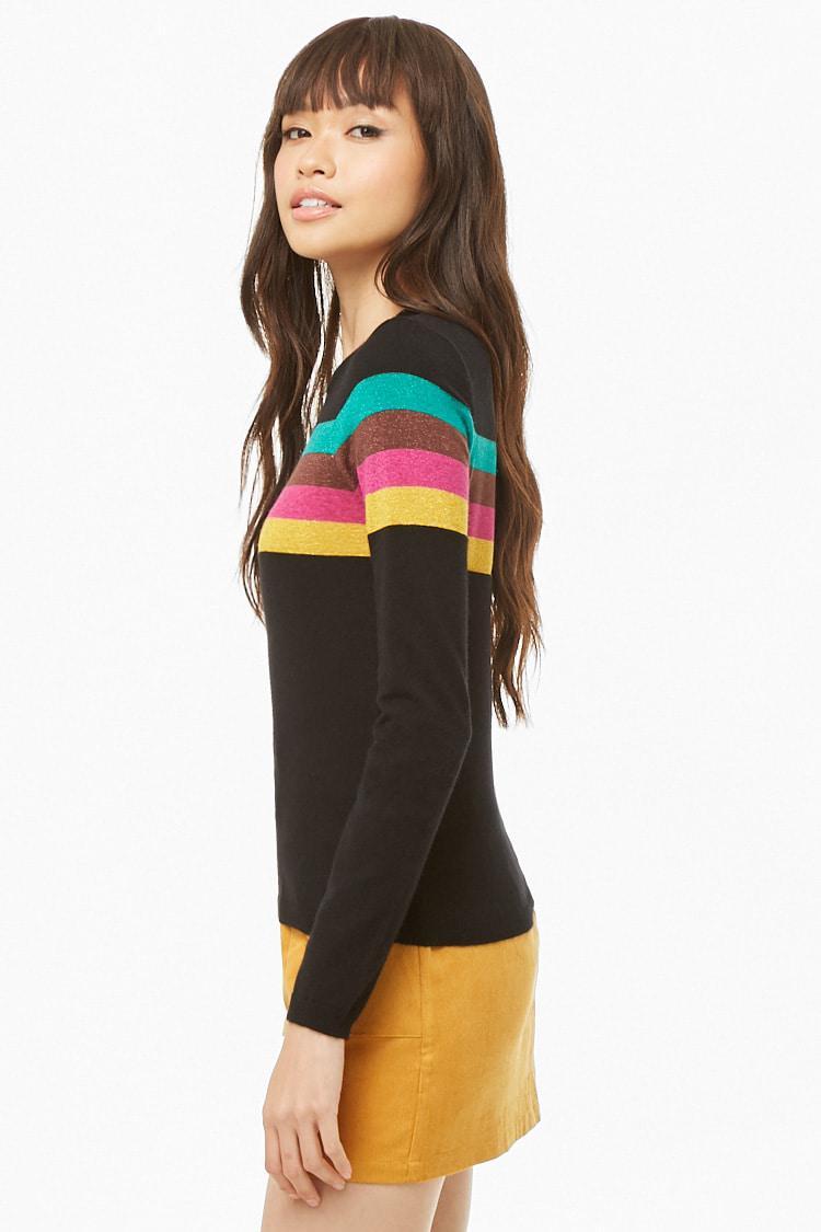 4310984a49ec2 ... Metallic Knit Striped Sweater - Lyst. View fullscreen