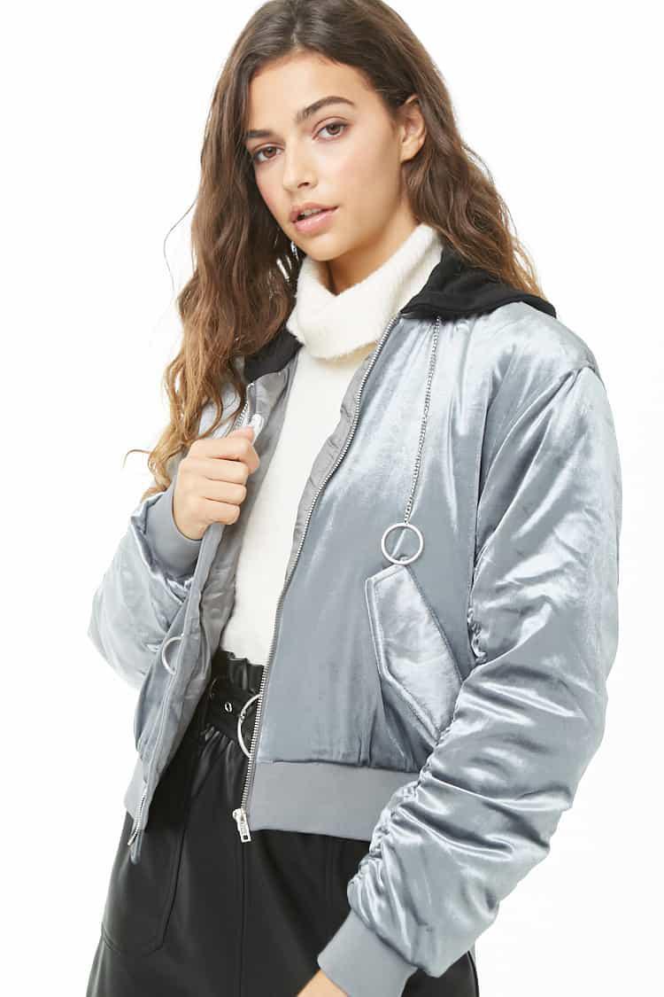 el mejor precios grandiosos estilo de moda Chaqueta bomber de terciopelo de mujer de color gris