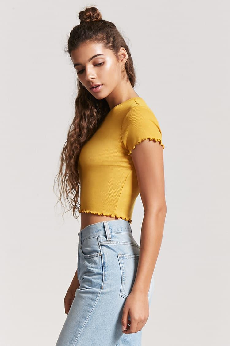 660cafb2e97 Forever 21 Ribbed Lettuce-edge Crop Top in Yellow - Lyst