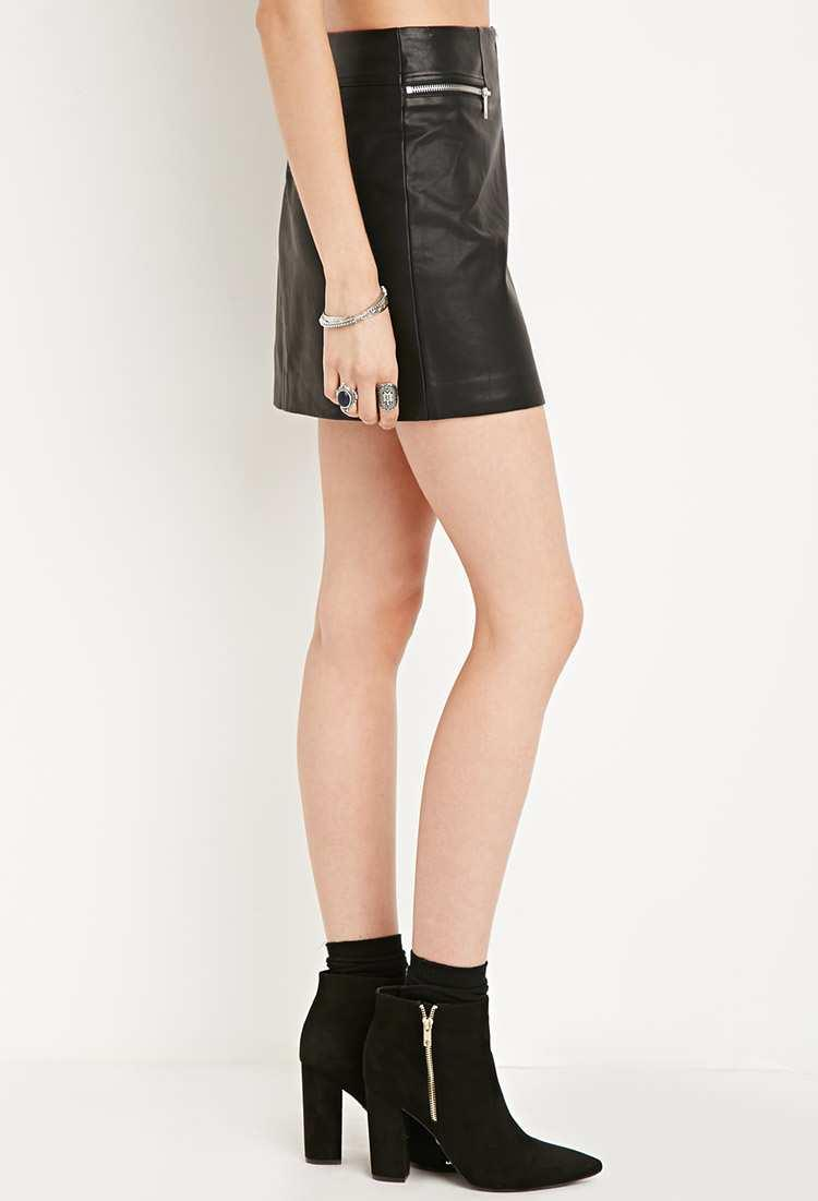 4f9619d3bc Forever 21 - Black Faux Leather Zipped Skirt - Lyst. View fullscreen