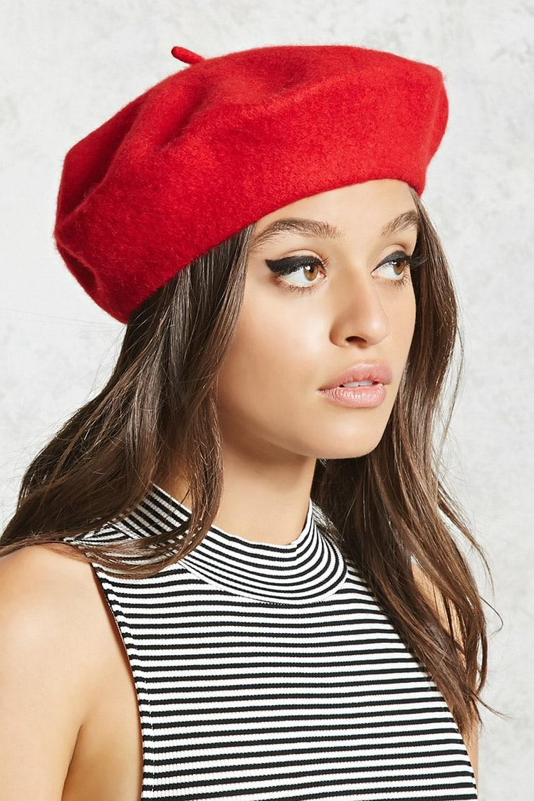 13aae484681a Forever 21 Wool Beret , Red in Red - Lyst